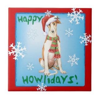 Happy Howliday Borzoi Ceramic Tile