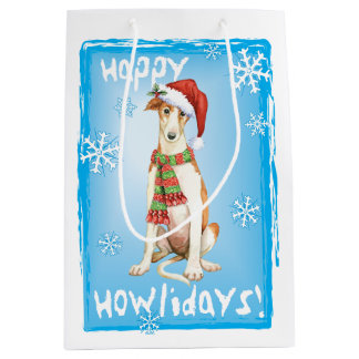 Happy Howliday Borzoi Medium Gift Bag