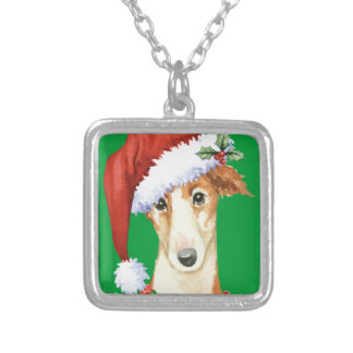 Happy Howliday Borzoi Silver Plated Necklace