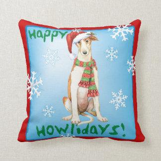 Happy Howliday Borzoi Throw Pillow
