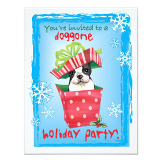 Happy Howliday Boston Terrier 4.25x5.5 Paper Invitation Card