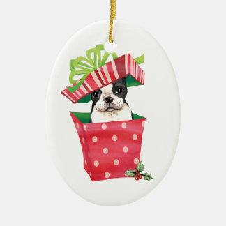 Happy Howliday Boston Terrier Ceramic Ornament