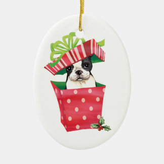 Happy Howliday Boston Terrier Christmas Ornaments