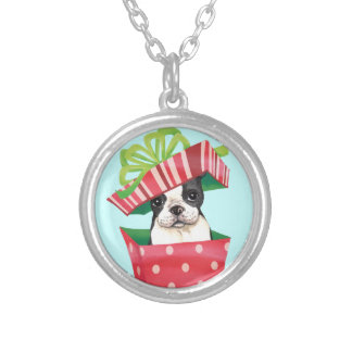 Happy Howliday Boston Terrier Round Pendant Necklace