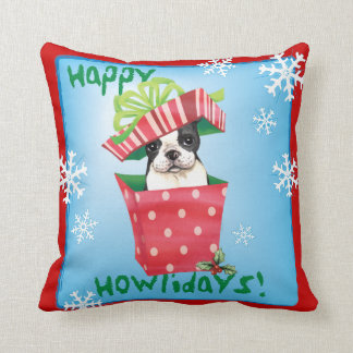 Happy Howliday Boston Terrier Throw Pillow