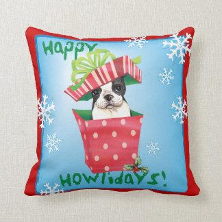 Happy Howliday Boston Terrier Throw Pillows