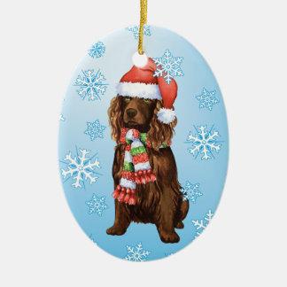 Happy Howliday Boykin Spaniel Ceramic Ornament