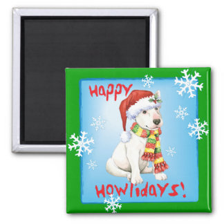 Happy Howliday Bull Terrier 2 Inch Square Magnet