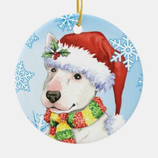 Happy Howliday Bull Terrier Ceramic Ornament