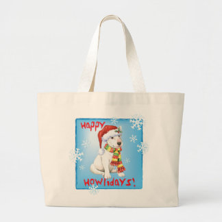 Happy Howliday Bull Terrier Large Tote Bag