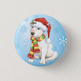 Happy Howliday Bull Terrier Pinback Button