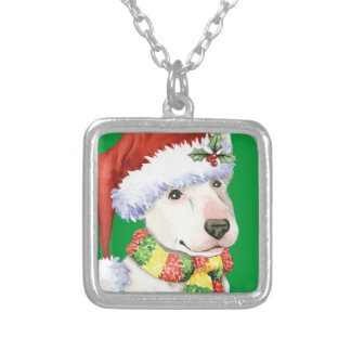 Happy Howliday Bull Terrier Square Pendant Necklace