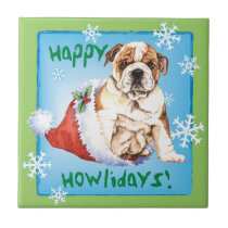 Happy Howliday Bulldog Tile