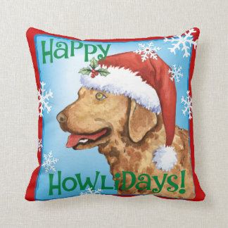 Happy Howliday Chessie Throw Pillow