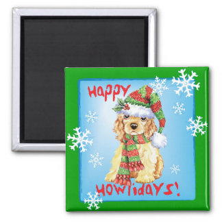 Happy Howliday Cocker Spaniel 2 Inch Square Magnet