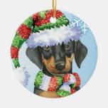 Happy Howliday Doberman Christmas Ornaments