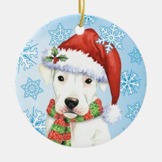 Happy Howliday Dogo Ceramic Ornament