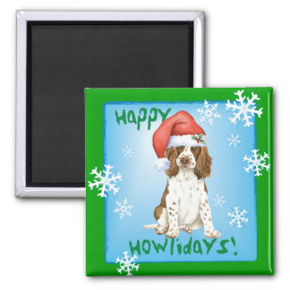 Happy Howliday English Springer Spaniel 2 Inch Square Magnet