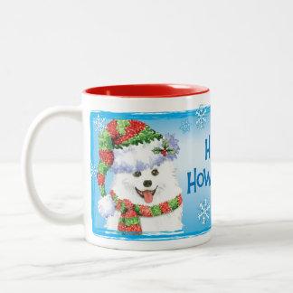 Happy Howliday Eskimo Dog Two-Tone Coffee Mug