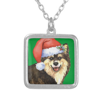 Happy Howliday Finnish Lapphund Square Pendant Necklace