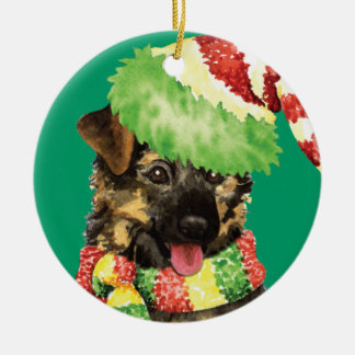 Happy Howliday German Shepherd Ceramic Ornament