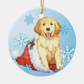 Happy Howliday Golden Retriever Double-Sided Ceramic Round Christmas Ornament