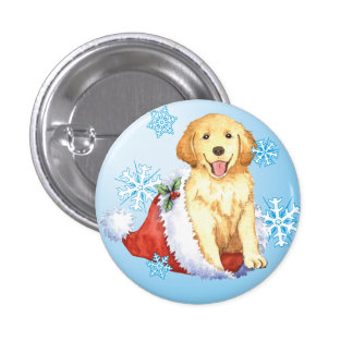 Happy Howliday Golden Retriever Pinback Button