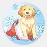 Happy Howliday Golden Retriever Classic Round Sticker