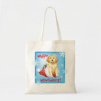 Happy Howliday Golden Retriever Tote Bag