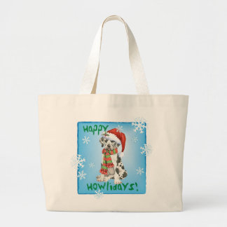 Happy Howliday Great Dane Large Tote Bag