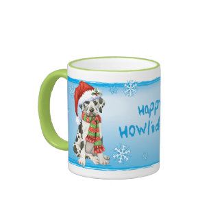 Happy Howliday Great Dane Ringer Mug