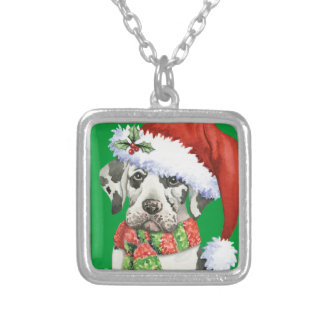 Happy Howliday Great Dane Silver Plated Necklace