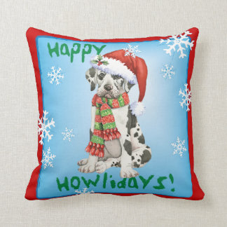 Happy Howliday Great Dane Throw Pillow