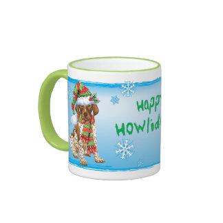 Happy Howliday GSP Ringer Coffee Mug