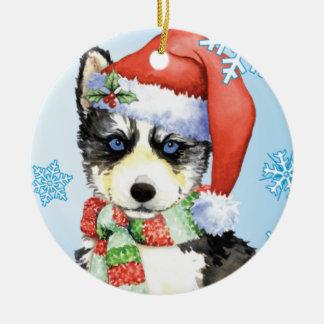 Happy Howliday Husky Double-Sided Ceramic Round Christmas Ornament