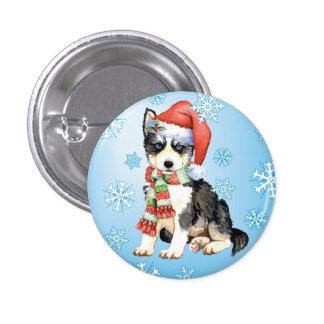 Happy Howliday Husky Pinback Button