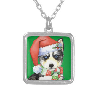 Happy Howliday Husky Silver Plated Necklace