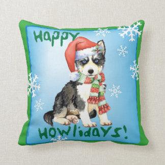 Happy Howliday Husky Throw Pillow