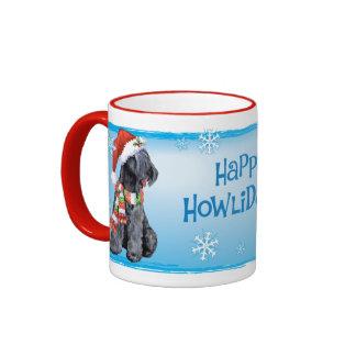 Happy Howliday Kerry Blue Terrier Ringer Coffee Mug
