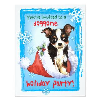 Happy Howliday Long Coat Chihuahua 4.25x5.5 Paper Invitation Card