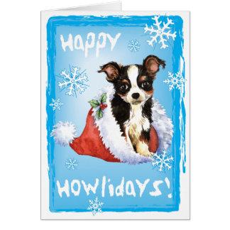 Happy Howliday Long Coat Chihuahua Greeting Card