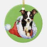 Happy Howliday Long Coat Chihuahua Double-Sided Ceramic Round Christmas Ornament