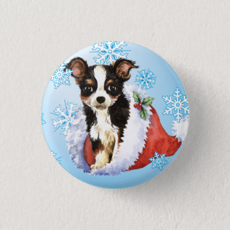 Happy Howliday Long Coat Chihuahua Pinback Button