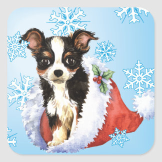 Happy Howliday Long Coat Chihuahua Square Sticker