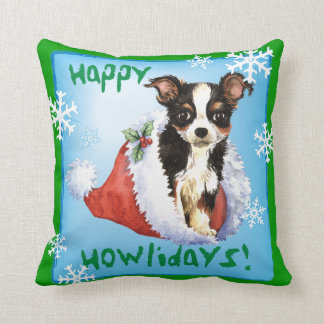 Happy Howliday Long Coat Chihuahua Throw Pillow