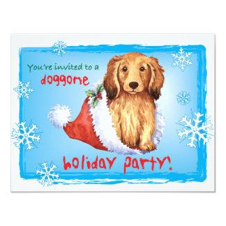 Happy Howliday Longhaired Dachshund Card