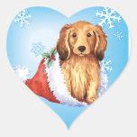 Happy Howliday Longhaired Dachshund Heart Sticker
