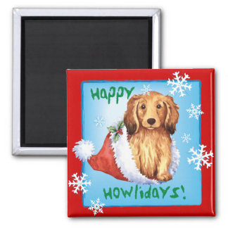 Happy Howliday Longhaired Dachshund Magnet