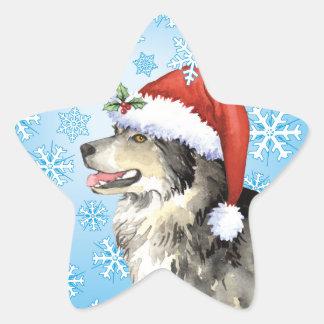 Happy Howliday Malemute Star Sticker