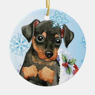 Happy Howliday Min Pin Double-Sided Ceramic Round Christmas Ornament